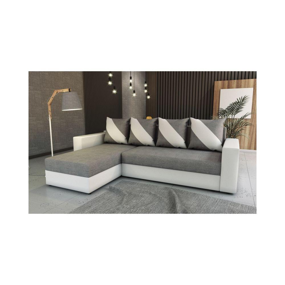 Meublesline Canapé d'angle convertible HULI gris clair blanc