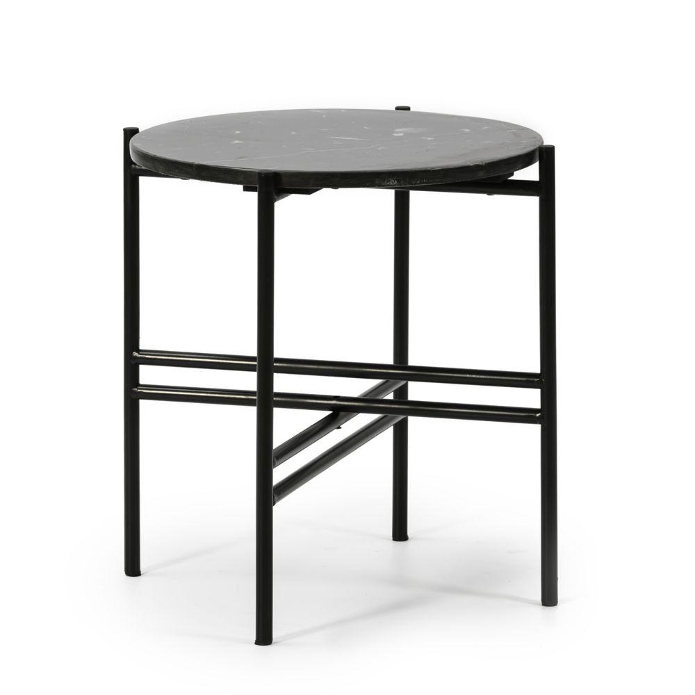 Vs Venta-Stock Table Basse Ronde Bombai avec Plateau en Marbre Noir et Pieds métalliques en Noir Mat/DIAMÈTRE: 41cm.