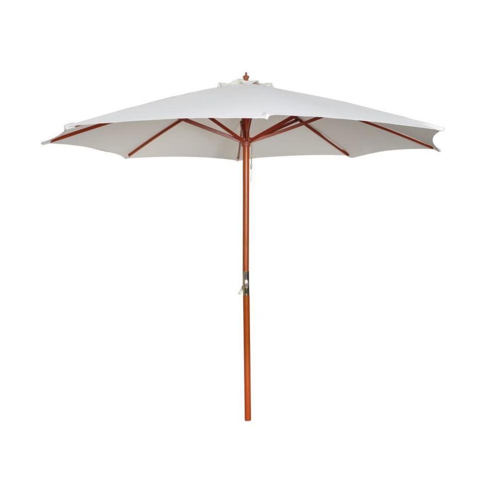 Vidaxl Parasol sur pied toile blanche & bois 258 cm   Blanc