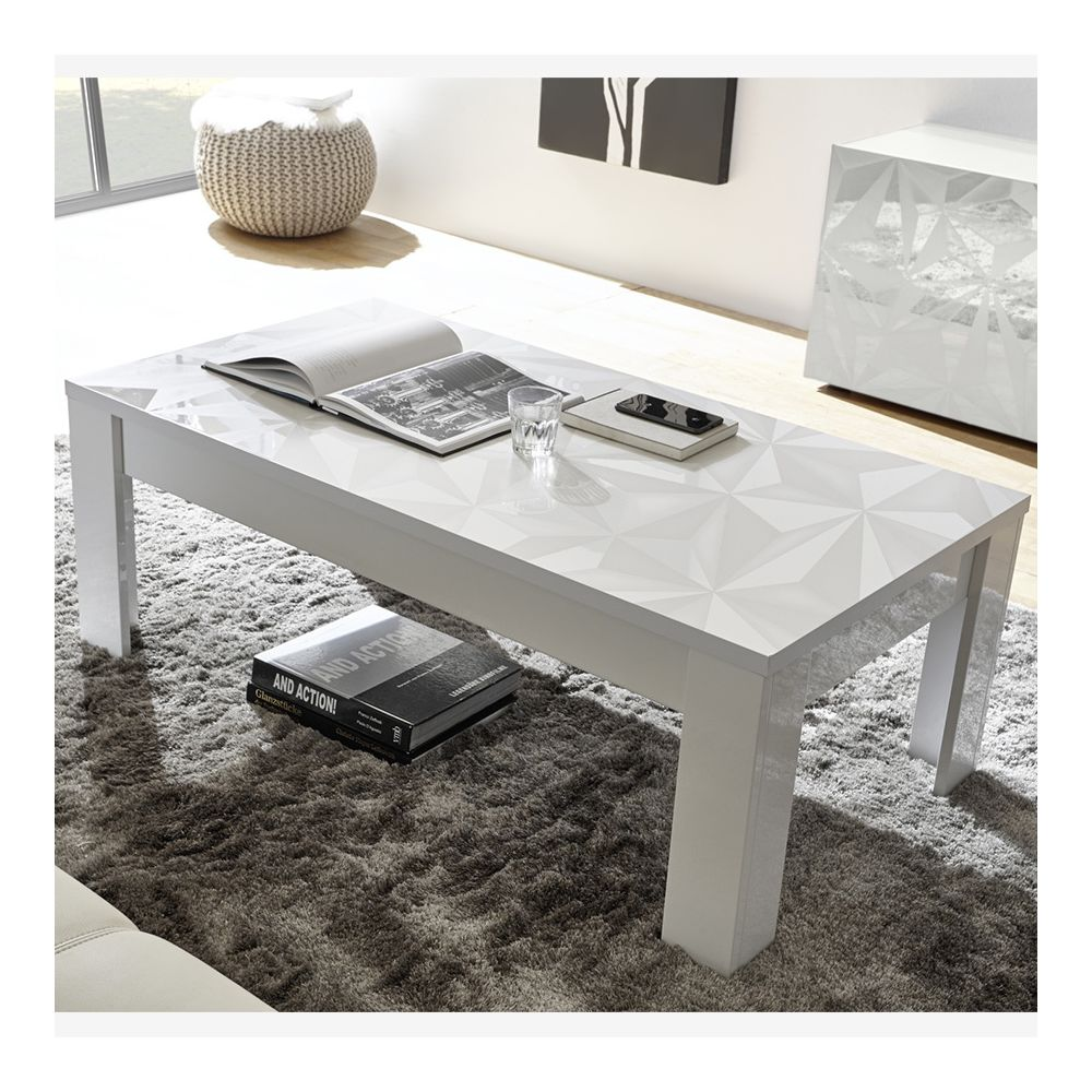 Sofamobili Table de salon 120 cm blanche laquée design ANTONIO