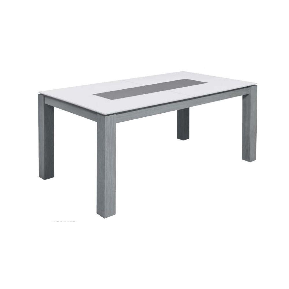 Chloe Design Table à manger extensible design ATLAS - Gris