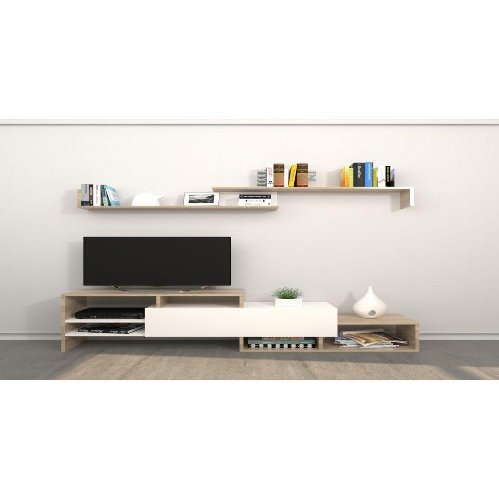Homemania HOMEMANIA Meuble TV Fenice - avec Étagères, Compartiments - pour Salon - Blanc, Sonoma en Bois, 150 x 27 x 45 cm
