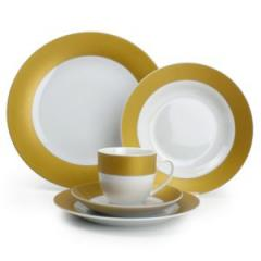 Service de table 30 pièces en porcelaine bords couleur Twirl - Gold