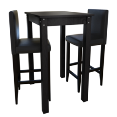 Set de 1 table et 2 tabourets noir